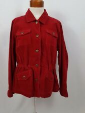 Christopher & Banks Corduroy Jacket Women's Size Large Red Button Up Pockets