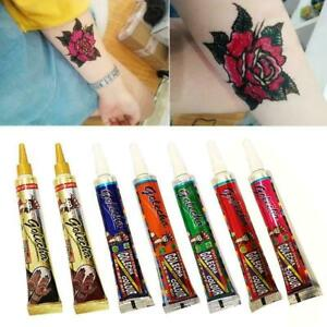 Mehndi Golecha Tattoos Party Colored Waterproof Henna Paste Tattoo Fake Con W6M7
