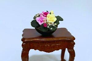 Dollhouse miniature Mixed Roses Flower Arrangement in Porcelain Bowl (ONLY)