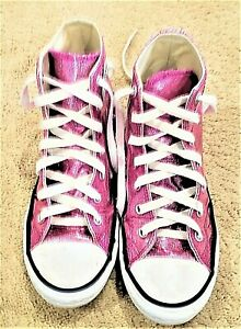 Converse All-Star Chuck Taylor pink glitter high top sneakers Youth SZ 3M