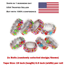 2x Rolls Craft Scrapbook DIY Rhinestone Crystals Washi Adhesive Tape 19 inch NEW