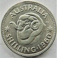 1960  AUSTRALIA Elizabeth II,One Shilling, error coin, Grading About EXTRA FINE.