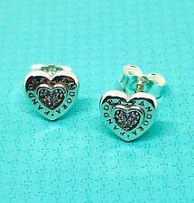 Genuine Authentic Pandora Logo Heart Stud Earrings