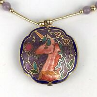 Vintage Unicorn Cloisonne Enamel Circle Puffy Pendant Two Sided Necklace Floral