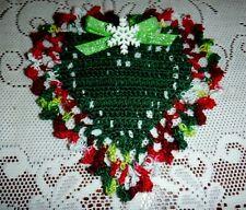 New Hand Crochet Heart Doily, Christmas Gift, Snowflake Ribbon