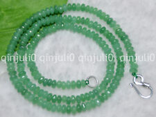 2x4mm Emerald Green Faceted Roundel Gems Beads Necklace Silver Clasp JN534