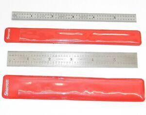 vtg Lot 2 Nice Starrett Machinist Rulers Rule Scale No. C303R & 604R & Sleeves