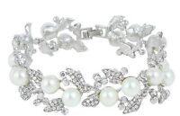 Bridal Wedding Luxury Crystal Pearl Bracelet Jewellery 19cm