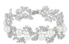Bridal Wedding Luxury Crystal Pearl Bracelet Jewellery 17cm
