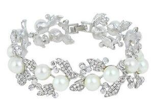 Bridal Wedding Luxury Crystal Pearl Bracelet Jewellery 19cm