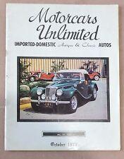 OCTOBER 1972 MOTORCARS UNLIMITED MAGAZINE / VINTAGE MG SPORT CARS