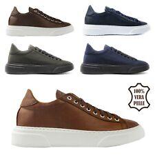 Scarpe da Uomo Sneakers in Pelle Eleganti e Sportive Casual Blu 39 41 42 43 44