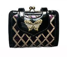100% Authentic Anna Sui Metal Butterfly Quilted Patent Leather Wallet