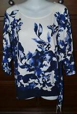 Chico's Blue & Ivory Floral Side Tie Top Tunic Size 0 (4/6)