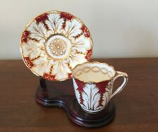 Antique Brown Westhead Moore Cauldon Cranberry & Gold Demitasse Cup & Saucer Set