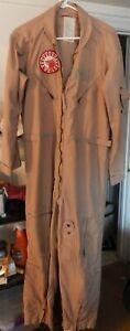 US NAVY CWU-27/P Flyers Coveralls Pilot Flight Suit Summer Desert Tan 44R (used)