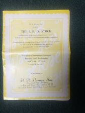 Hr Harmer Auction Catalog Presenting The I.R.O Stock