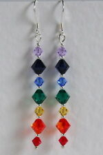 Extra Long STERLING SILVER 925 Rainbow EARRINGS SWAROVSKI Elements CRYSTAL