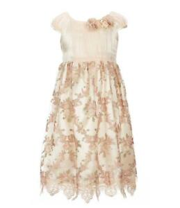 BONNIE JEAN® Little Girls' 6 Embroidered Floral Mesh Dress NWT $72