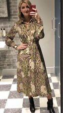 William Morris H&M Calf Length Shirt Dress BURGUNDY GREEN FLORAL US 2 6 8 10 12