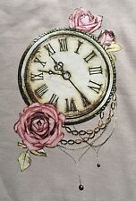 Shabby Chic Vintage Antique Clock Rose Flowers Fabric Iron On Heat Transfer