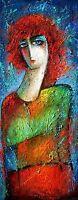 """Frau in Rot"""", Öl auf Hartfaser,  Unikat signiert"""