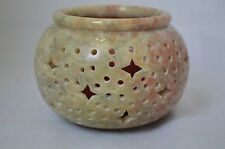 Round Soapstone Candleholder Hand Carved Stars and Circles #N