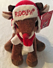 """Rudolph The Red Nosed Reindeer 12"""" Plush w/ Hat Ear Muffs Scarf by Dan Dee - New"""