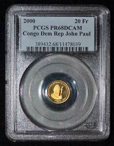 PCGS PR68 DCAM 2000 Congo Dem Rep John Paul II 20 Francs Gold Denomination