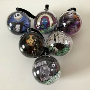 Disney Nightmare Before Christmas Tree Glitter Baubles Decorations 6 Set Gift