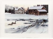 Vintage MIKE CASPER Americana Countryside Landscape Lithograph SIGNED #174T