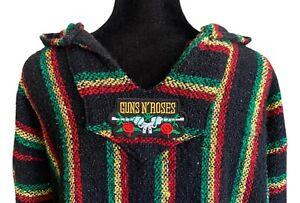 Woven Baja Hoodie Guns N Roses Vintage 90s Grunge Rasta Poncho Men's Large