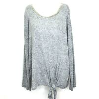 JLO Women's Long Sleeve Ribbed Knit Top XL Grey Embellished Neckline NEW