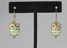 Greenwood Designs Ceramic Owl Green Quartz Accent gf Gold Hook Dangle Earrings