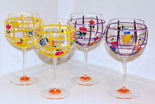 Wine Glasses Goblets Set of 4 Hand Painted Balloon Bowl 16 oz Purple Yellow