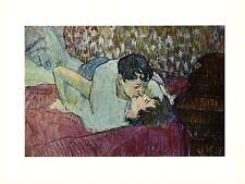 """1956 Vintage TOULOUSE """"THE KISS"""" LESBIANS LESBIANISM COLOR offset Lithograph"""