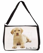 Yellow Labrador Pup 'Love You Mum' Large Black Laptop Shoulder Bag S, AD-L4lymSB