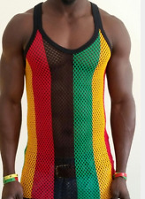 Mens MultiColor Cotton Top Stripe Mesh Fitted Fishnet Rasta Muscle String Vest