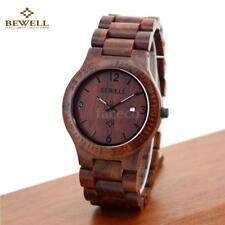 Holz Uhr Herren Licht Analog Quarz Datum Armbanduhr Herrenuhr Geschenk BEWELL