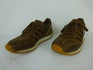 2001 Vintage Adidas Achille Brown Leather Trainers ~ Men's Size 11