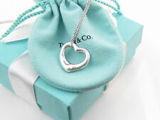 """NEW TIFFANY & CO SILVER LARGE OPEN HEART PERETTI NECKLACE 18"""" PACKAGING"""