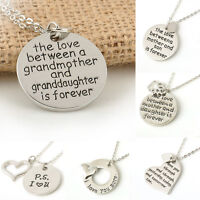 Fashion Family Necklace Pendant Gift Retro Silve Heart Love Charm Chain Jewelry