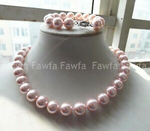 8/10/12/14mm Pink South Sea Shell Pearl Round Beads Necklace Bracelet Set 18''