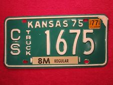 LICENSE PLATE Truck Tag 1975 KANSAS CS 1675 [Z93]
