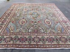 Vintage Hand Made Traditional Oriental Wool Blue Large Square Carpet 321x307cm