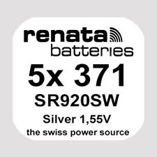 5x Renata 371 Uhren-Batterie Knopfzelle SR920SW AG6 1,55V Silberoxid Neu