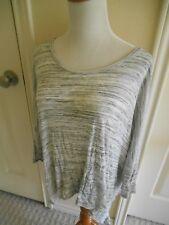 mystree tunic top gray & white dolman 3/4 slv hi low sides boho M/L