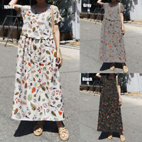PLUS SIZE Womens Floral Maxi Dress Ladies Summer Holiday Casual Sundress UK 8-26
