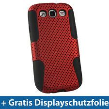Silikon Tasche & Rot PC Masche für Samsung Galaxy S3 III i9300 Android Hülle
