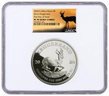 2020 South Africa 2oz Silver Krugerrand Proof NGC PF70 UC FDI Springbok SKU60154